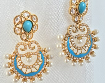 Faux Pearl and Stone Earrings | Indian Traditional Earrings