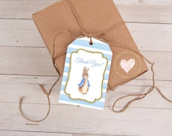 Peter Rabbit Favor Tags, Baby Shower, Beatrix Potter, Peter Rabbit Tags, Peter Rabbit Shower, Favor Tags, Gift Tags, Thank You Tags, Blue