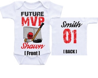 personalized Hockey onesies Future MVP  baby boy hockey baby shower hockey baby shirt baby hockey outfit hockey gift for boys hockey onsie