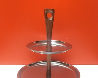 Two Tier Tidbit Tray with Wooden Handle