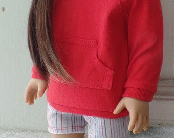 Doll clothes for 18 inch dolls such as American Girl dolls:  red hoodie with striped denim cutoff shorts