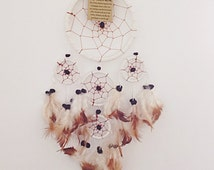 White Leather Suede 5 Ring Round Dream Catcher
