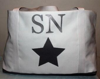 Monogram tote bag/Personalised extra large tote bag/Beach bag /Holdall/ Holiday bag/ Extra large fabric bag/ canvas bag/shoulder bag