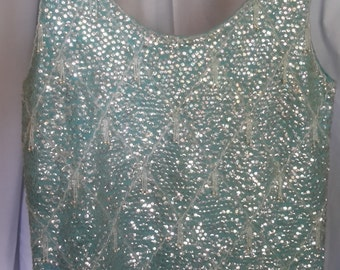 Gorgeous vintage turquoise sequined and beaded sleeveless sweater top, excellent condition