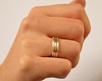 Stacking Rings - Gold Silver Stacking Rings - Thick Stacking Rings - Mixed Metal Rings - Gold Stack Rings - UK Handmade