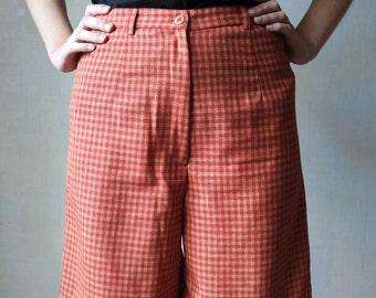 80s 90s Vintage Shorts Classic Checked Orange Shorts High Waisted Shorts Bermuda Pants Bicycle shorts