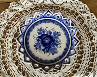 """Gzhel dish - plate """"Sunflower"""""""