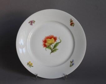 """Nymphenburg Flowers Cake Plate 7.48"""" in Diameter handpainted Germany"""