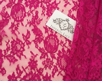 Pink lace fabric, French Lace,  Bridal lace, pink Lace, Viscose, Dentelle de Calais, made in france K00310