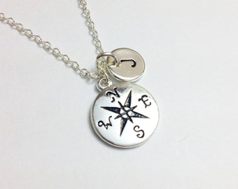 Compass necklace - silver compass - personalized necklace - friendship gift - birthday