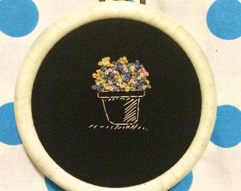 Miniature Flowerpot Embroidery