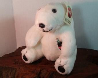 Coca Cola Polar Bear Plush Toy Collectible, Polar Bear With A Coke, Stuffed Animal Polar Bear Coke Memorabilia, Coca Colo Bear