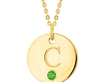 Initial C Disc Pendant With Personalized Birthstone In Sterling Silver