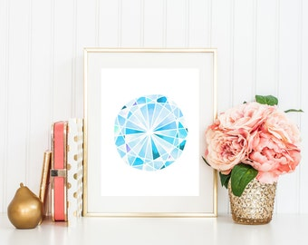 December Birthstone Art Print, Watercolor Gemstone, Printable Art