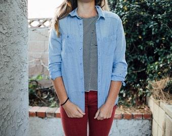 Lightweight Long-sleeved Blue Chambray Shirt Women's XS