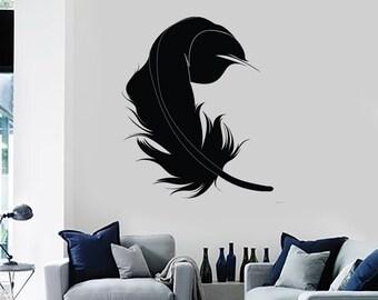 Wall Vinyl Decal Birds Feather Symbol of Virtue  Love Romance Bedroom Modern Home Decor (#1094dz)