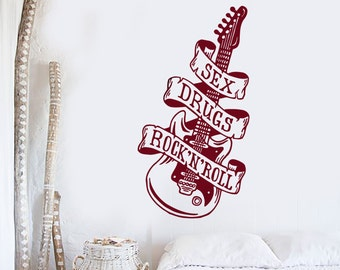 Wall Vinyl Decal Music Guitar Quote Sex Drugs and Rock'n'Roll Grunge Retro Banner Modern Home Decor (#1199dz)