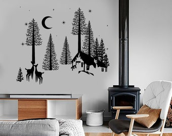 Wall Vinyl Decal Forest Deer Night Village Country Side Amazing Nature 1381dz