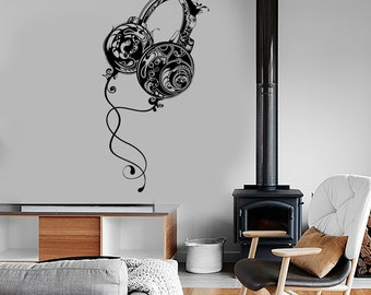 Wall Vinyl Decal Headphones Pattern Music Coo Floral Bedroom Mural Art 1573dz