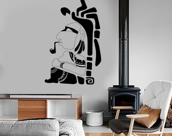 Wall Vinyl Indian Smoking Pipe Funny Ethnic Bedroom Decor Mural Art 1617dz