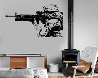 Wall Vinyl US Soldier Marine Seal Rifle Guaranteed Quality Decal 1631dz
