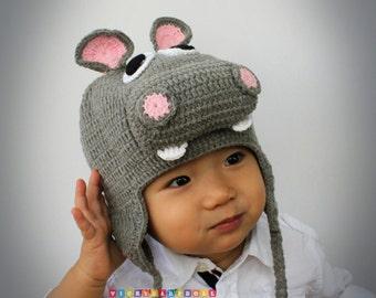 Crochet Rhino Hat, Baby Rhino Hat, Crochet Rhino Beanie, Photo prop