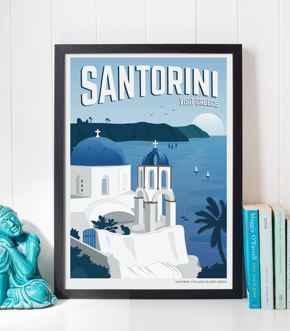 Vintage travel poster santorini travel decoration wall art - Laminas y posters madrid ...