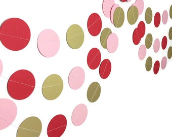 Party Decorations - Valentine's Day Decorations - Valentine's Day Garland - Gold Garland - Red Pink and Gold Circle Garland - 10 Feet