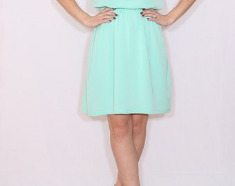 Mint bridesmaid dress Short dress Chiffon dress Keyhole dress
