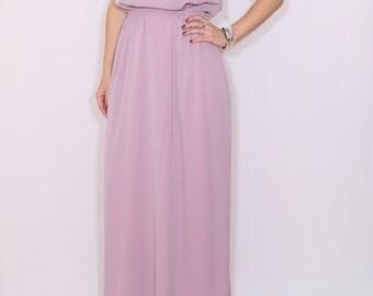 Light purple dress Long bridesmaid dress Chiffon dress Prom dress Keyhole dress