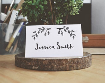 Woodland place card template Black and white Seating card printable Simple wedding name card Digital download Branch place cards diy T95