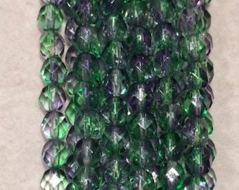 Fire Polished Beads, 6mm, Dual Coated-Blueberry/Green Tea, 1-06-48006, 25 Beads, Czech Glass