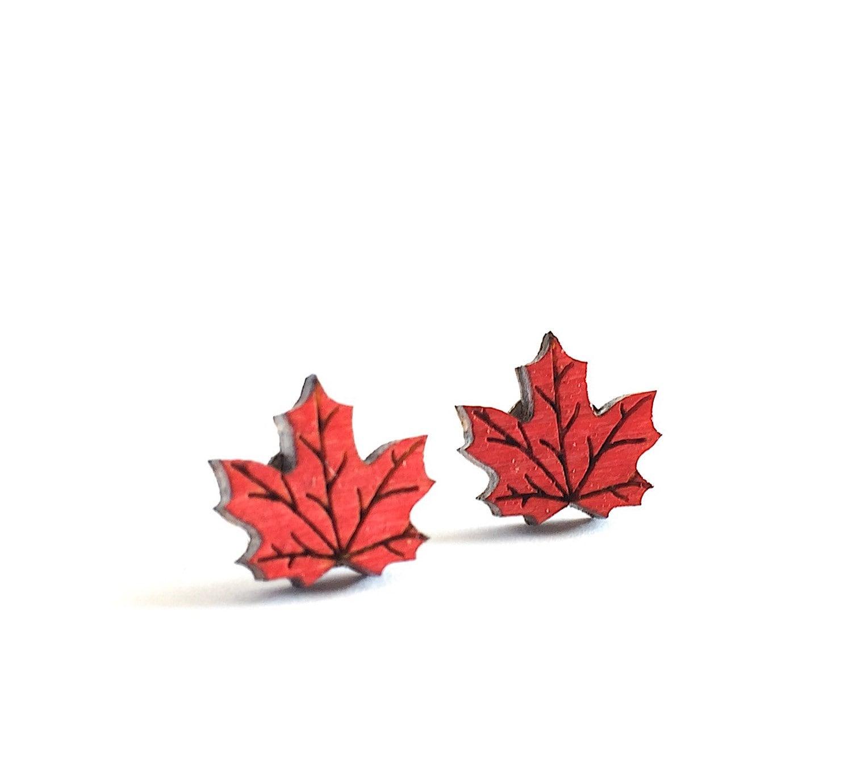 Maple Leaf Earrings Canada Day Earrings Canadian Flag