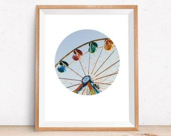 Ferris Wheel, Photo Prints, Wall Art Prints, Printable Photography, Circle Print, Carnival Art, Geometric Print, Digital Print