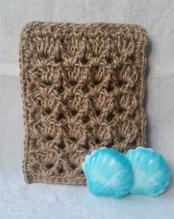 "NATURAL crochet BATH MITT ""Shell"", eco-friendly sponge, 100 % natural jute"