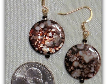 Brown Shell Earrings, Spotted Brown Dangles