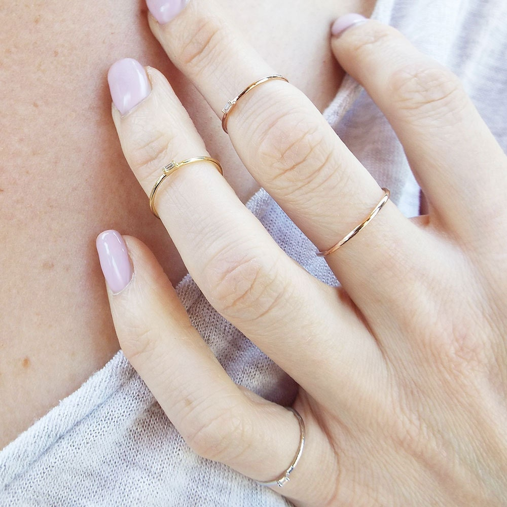 Dainty Baguette Pinky ring Midi ring Knuckle ring cz Baguette Rose gold Midi stacking ring