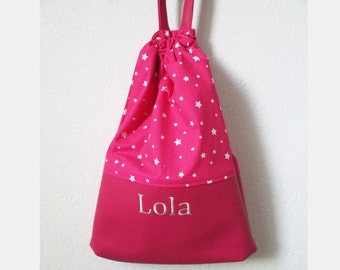 Bag child first name customizable option - Rose-star-taste-to Doudou-pool-Sport-toy