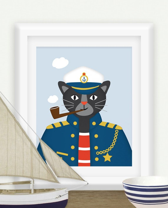 kapit n panther maritime kunst kinderzimmer poster maritim. Black Bedroom Furniture Sets. Home Design Ideas