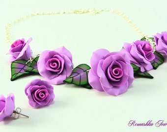 Rose Necklace. Rose Earrings. Flower Necklace. Polymer Clay Jewelry. Lavender Rose Necklace Set. Hand Made Jewelry Set.