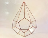 Geometric Glass Terrarium, Handmade Terrarium, Copper Planter, Gifts for Gardeners, Teardrop, Christmas Decor, Holiday Gifts, Christmas Gift