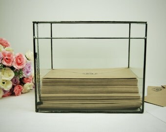 Wedding Keepsake Box, Wedding Card Box, Wedding Card Holder, Large Glass Box, Envelope Holder, Geometric Terrarium, Rustic Card Holder