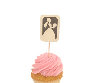 Here Comes the Bride Cupcake Toppers - Set of 12