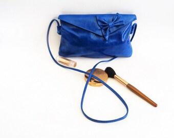 Nat & Nin Crossbody Blue Bag, Nat Nin Blue Leather Handbag, Nat et Nin Blue Bag, Handmade Bag, french purse leather, Nat et Nin France