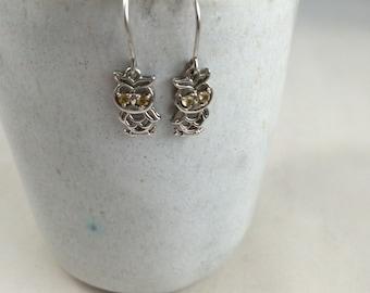 Sterling silver delicate owl earrings 925 dangling