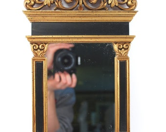 """Gorgeous SYROCO mirror - 1960s vintage, gold and black, Greco-Roman style with columns, floral detail, rectangular, mid century, 17"""" tall"""