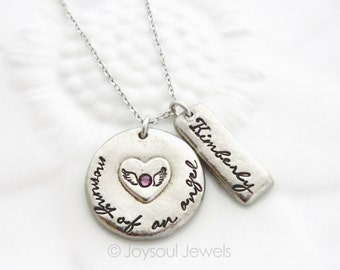 Mother of an Angel Personalized Necklace, Angel Mom Necklace, Baby Loss Jewelry, Grieving Mother, Loss of a Child, Hand Stamped Jewelry