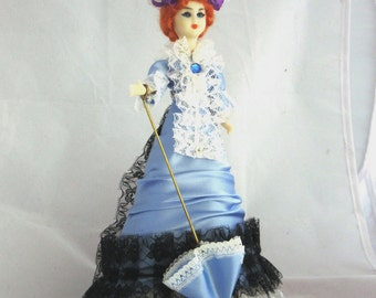 vintage collectable French style mini doll, 19th century fashion dress, mini dolls,national costume mini  dolls