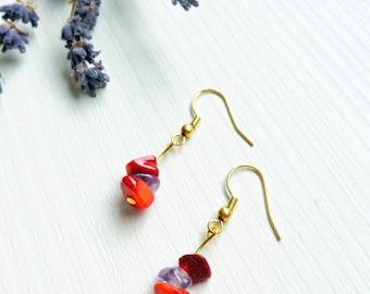 Coral Earrings, Amethyst Earrings, red, purple, golden, romantic, love