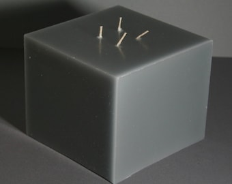 Candles, multi Wick candle, Multiwick candle, grey, large, cube, square, Gartendeko, fire Bowl, paraffin, 15 x 15 x 12 cm